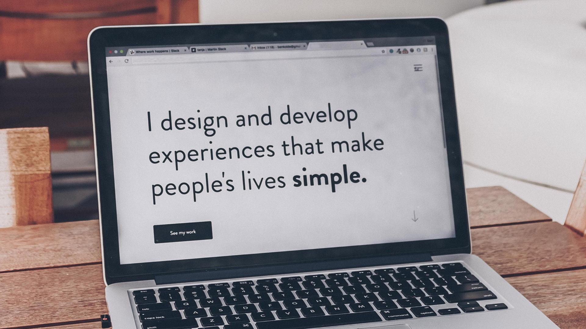 Laptop displaying web design ethos